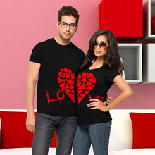 Couples Red Heart Printed T-Shirts