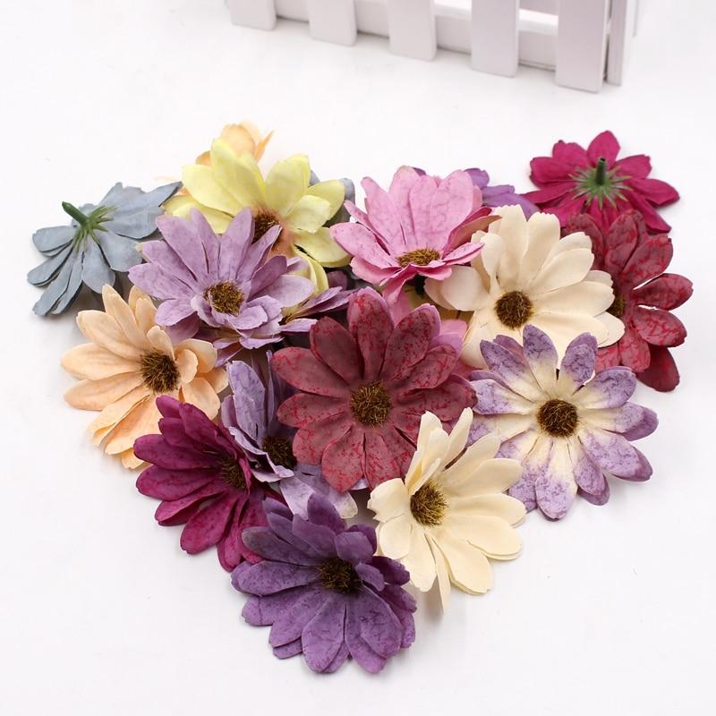10 шт./лот 6 см Искусственный цветок ромашки в стиле ретро, свадебное украшение, сделай сам, венок, скрапбук, искусственные цветы