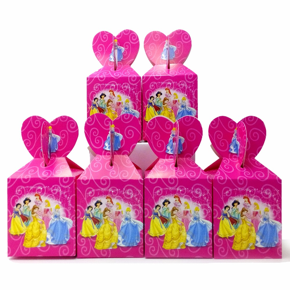 6pcsset Beaueiful Princess Paper Candy Box Cartoon Birthday Decoration Theme Party Supply Festival Kids Girl Princess Candy Box