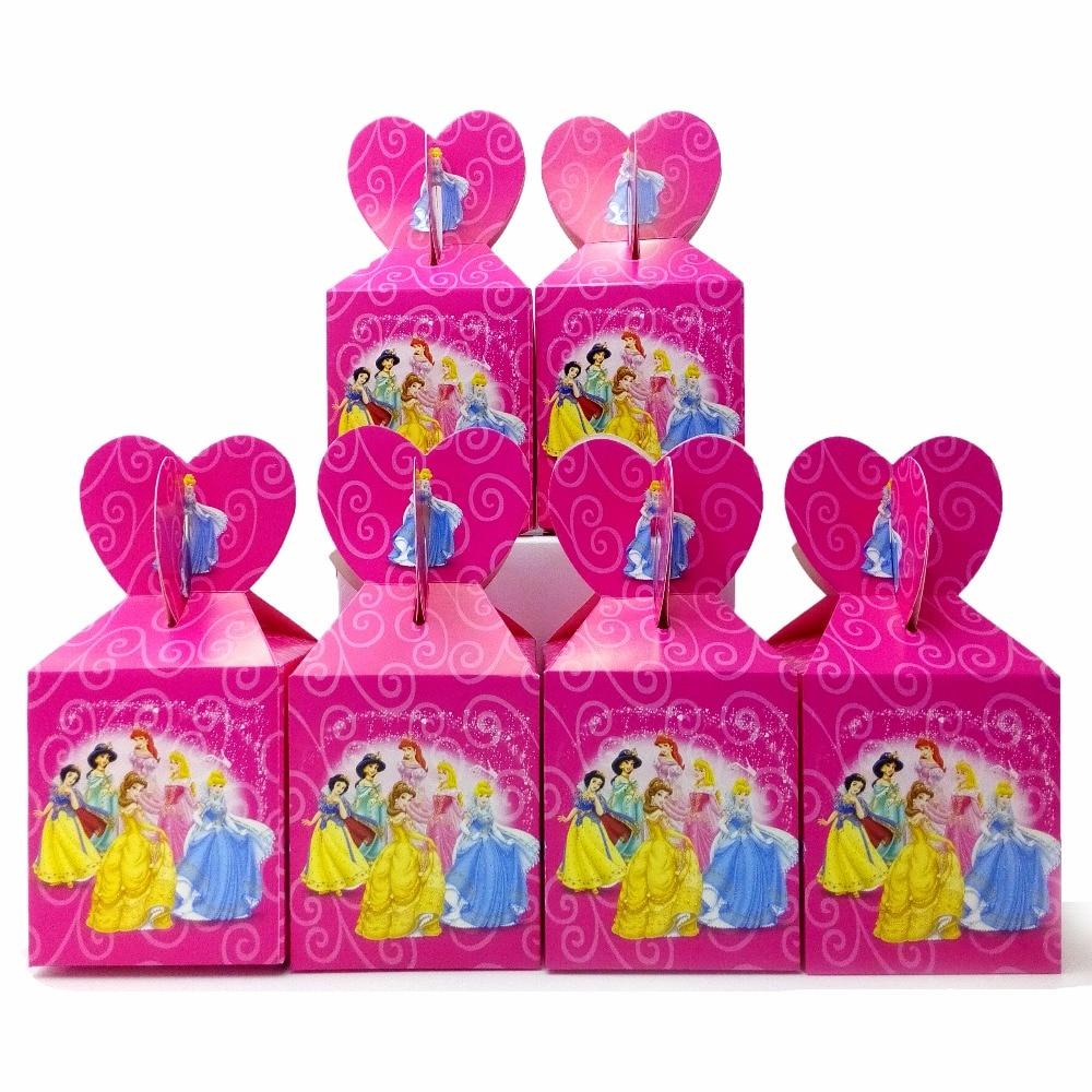 6pcsset Beaueiful Princess Paper Candy Box Cartoon Birthday Decoration Theme Party Supply Festival Kids Girl Princess Candy Box