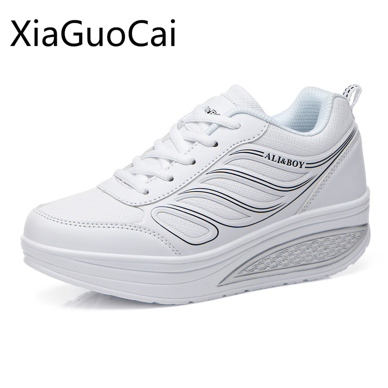 Hot! Wedge Sneakers Women Super Light Mesh Running Shoes Height Increasing Women Breathable Slimming Swing Shoes Free Shipping
