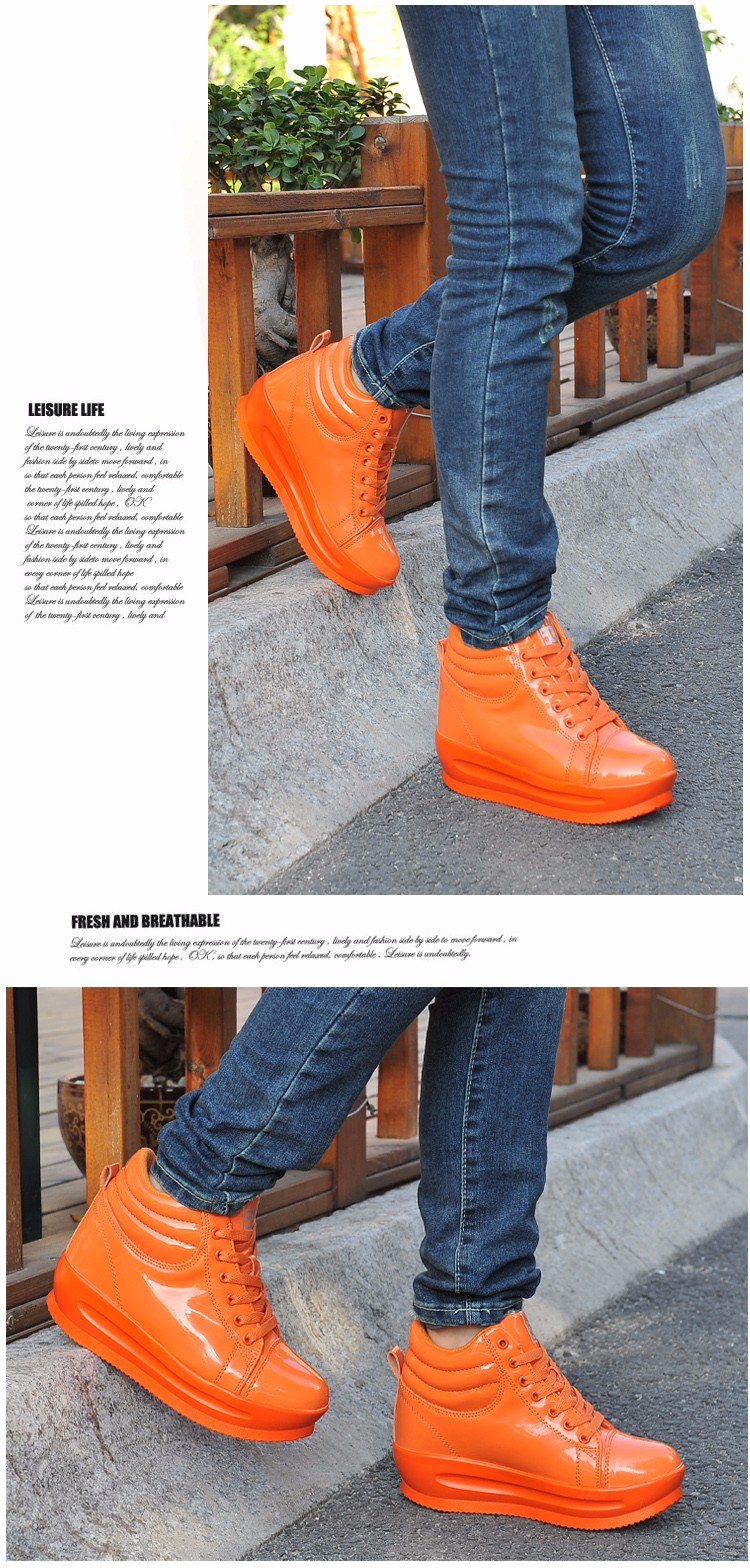 KUYUPP 2016 Fashion Hide Heel Women Casual Shoes Breathable Flat Platform Casual Women Shoes Patent Leather High Top Shoes YD105 (5)