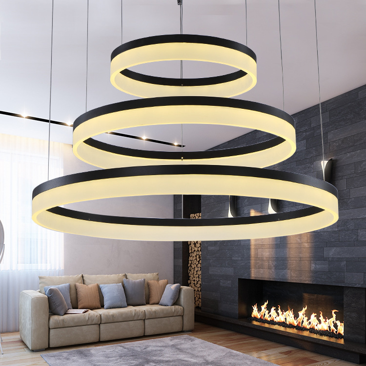 Modern round ring circular acrylic led chandelier