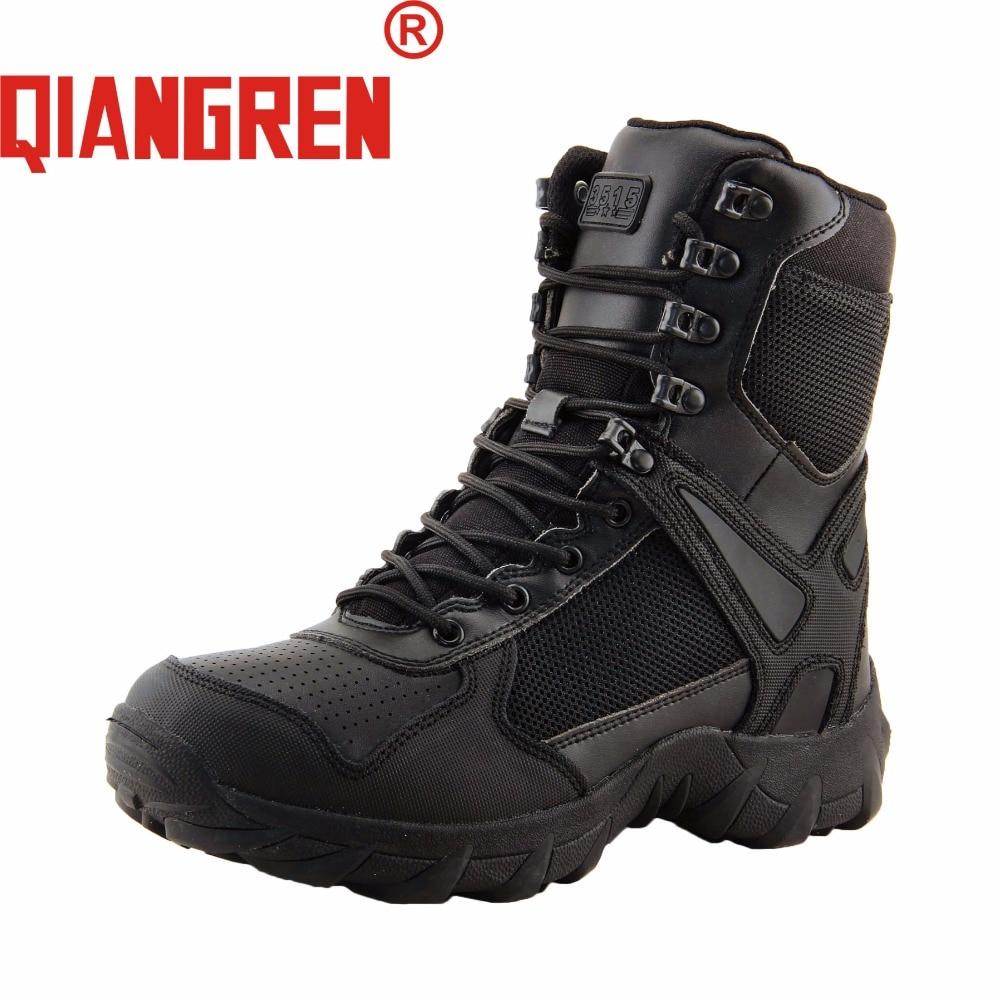 Qualifiziert Qiangren Militärische Fabrik Direkt Herren Schwarz Tactical Stiefel Swat Aus Echtem Leder Gummi Militar Armee Sicherheit Schuhe Botas Militares Home