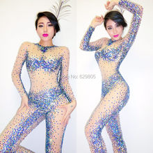 Fashion Design Sexy Perspective Blue Rhinestone Bodysuit Costume Party Female Singer Stage Nightclub Performance Wear Jumpsuit