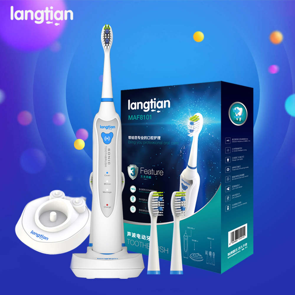 Langtian Sonic Electric Toothbrush Ultrasonic Whitening Teeth Vibrator Tooth Brush Dental Care Oral Hygiene Washable  Pinceis 1 kit dental orthodontic oral care interdental brush toothpick between teeth brush 3pcs kit570041