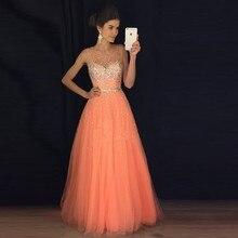 Vestidos De Festa Tüll Scoop Sleeveless Reißverschluss Kristall A-Line Prom Kleider 2017 Perlen mit Kristall Bodenlangen Abendkleid