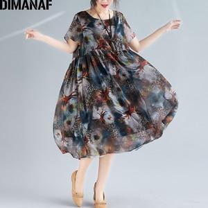 Image 2 - DIMANAF Plus Size Women Beach Dress Print Chiffon Vintage Elegant Lady Vestidos Summer Sundress Loose Casual Female Clothes 2019