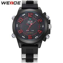 WEIDE Sport Watch Water Resist for Men Silicone  Band Men Quartz Casual Military Red Yellow Blue Multifunctional Wristwatches