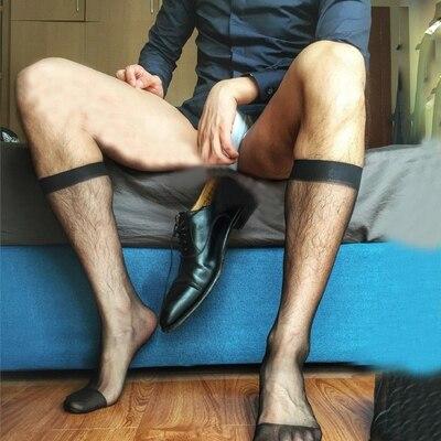 Socks Harajuku Gay Socks Transparent Gentleman Socks Male  Stocking Silky Transparent Socks Men Business Stockings
