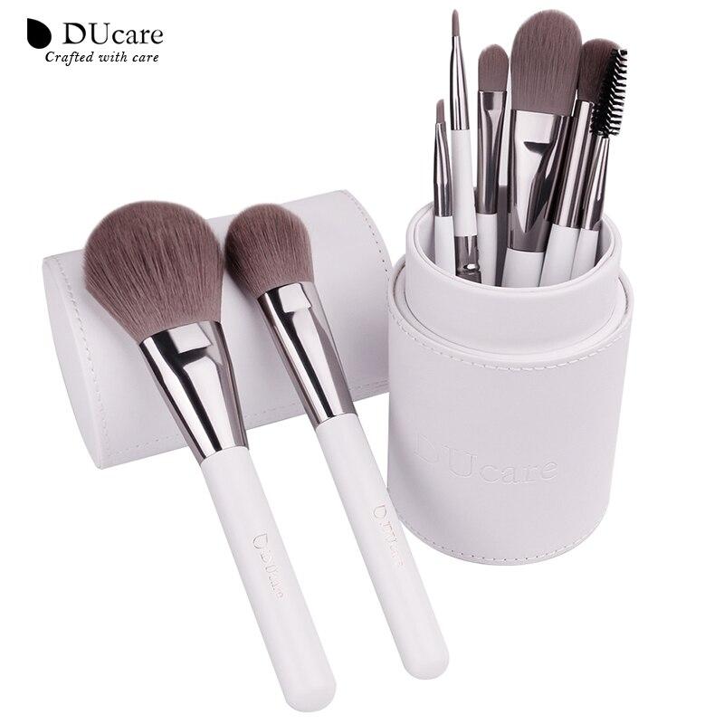 DUcare Pennelli Trucco professionale Cosmetici brush Set 8 pz di Alta Qualità Capelli Sintetici top Con Cilindro Bianco pennelli set