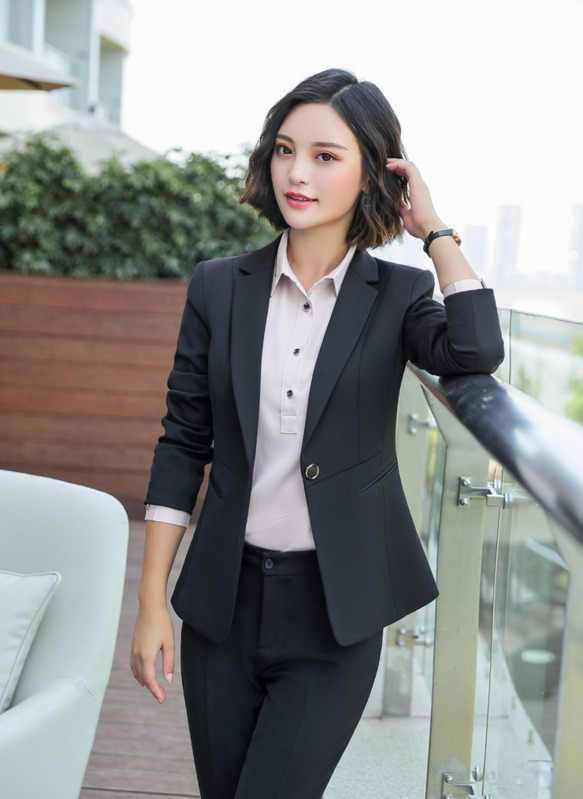 女性スリム長袖正式なブレザー OL ファッションノッチ襟ジャケットオフィスレディースプラスサイズ作業服ブルーブラックコートトップ