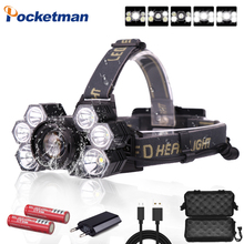 60000ml Headlamp 3*T6 +2*XPE LED Lamp 5-Mode Zoomable Headlight USB Charger Head Torch Fishing Camping Flashlight 18650 Battery boruit k71 xml t6 xpe cob led headlamp usb charger head torch 6 mode headlight fishing camping flashlight by 18650 battery
