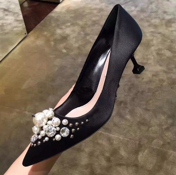 2017 Newest Satin High Heel Pumps With Bead Black Beige Pointed Toe Low Heel Women Dress Shoes 100% Real Photo