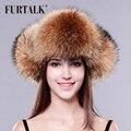 FURTALK conjunto chapéu chapéu de pele de raposa pele das mulheres de inverno real fox pele de guaxinim chapéu do inverno