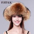 FURTALK fox fur hat women winter fur hat whole set real fox raccoon fur winter hat