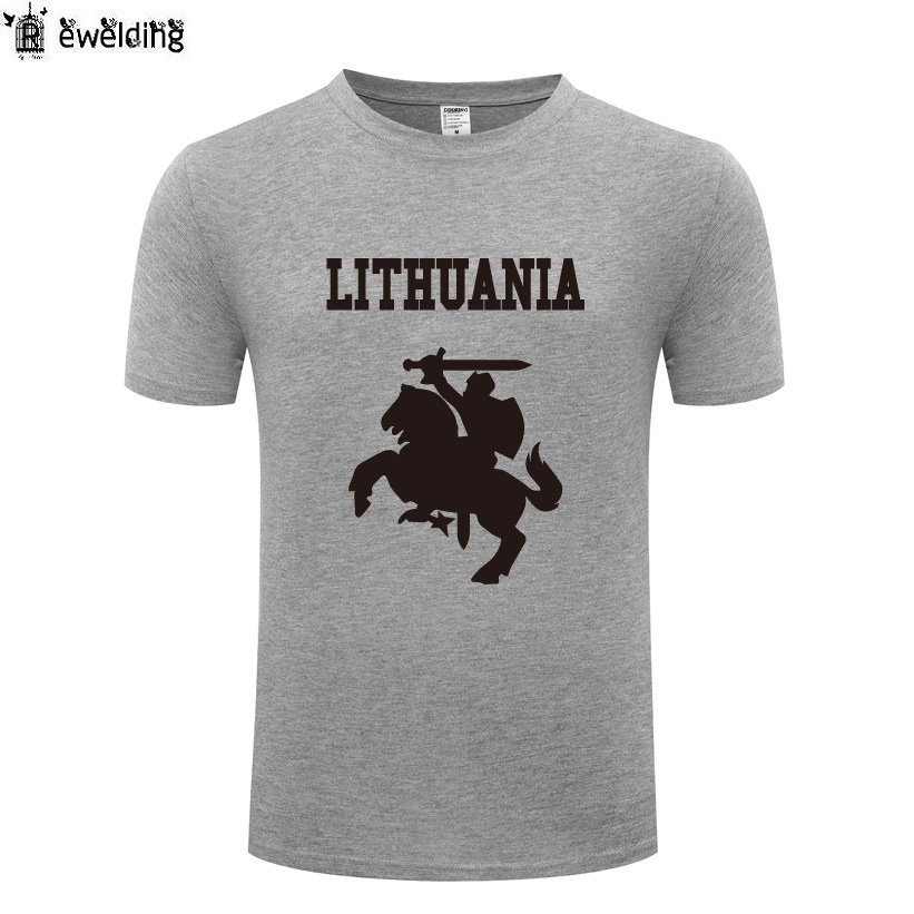 Lithuania Coat of Arms Printed Men   T     Shirt   Novelty   T     Shirts   Men Cotton Short Sleeve O-Neck Tshirt Streetwear Top Tee Man   T  -  Shirt