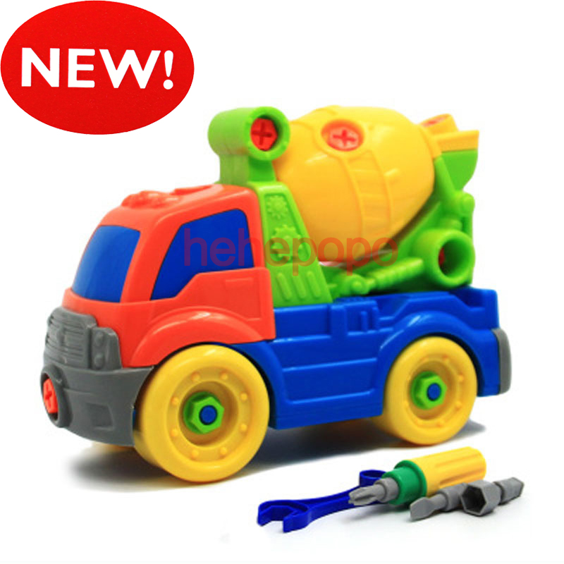 26cm MIXER Truck Take Apart Toy Car Kit Model Drill Screws DIY Assembly Car Toy For Kids Truck Model Building Kits Plastic Toy