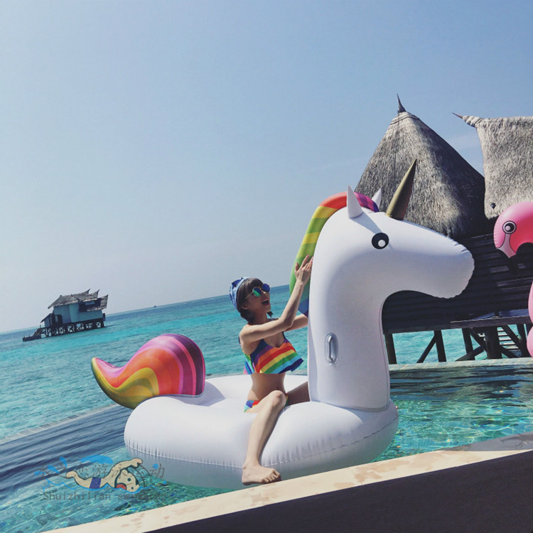 275cm Giant Unicorn Inflatable Flamingo Ride-On Toy Float Inflatable Swan Holiday Water Fun Swimming Pool Ring Toy for Adult