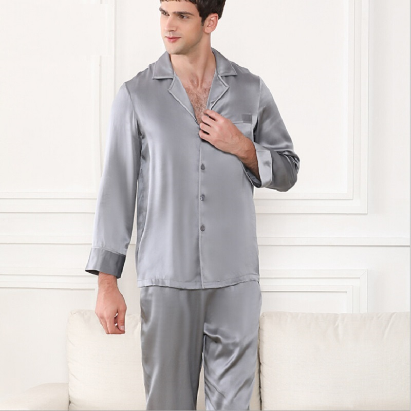 Pajamas Set Silk Stain Man Summer Autumn 2019 Men Silk Sleepwear Homewear Long Sleeve Grey Tops And Pants Two Piece Sets Pijamas