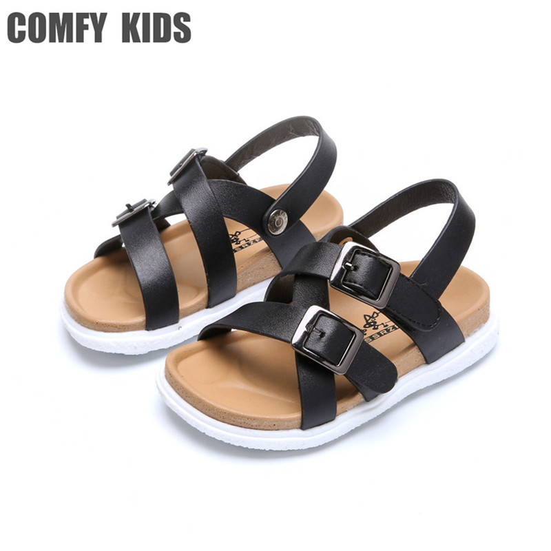 ФОТО Comfy Kids Genuine Leather Child Boys Sandals Shoes 2017 Summer New Arrivals Fashion Boys Sandals shoes For Baby shoe Size 21-25