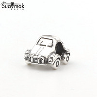 SUAYMAK Fits For Pandora Bracelet Authentic 925 Sterling Silver Small Car Charm Beads With CZ Stone