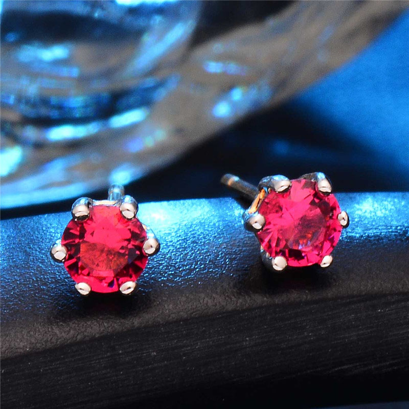 SHUANGR Rose Gold color 6 Prongs Sparkling 0.5ct Red Cubic Zirconia Post CZ Stud Earrings For women Brincos