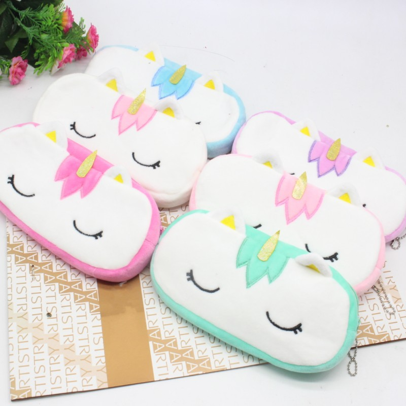 20cm Stuffed Plush Pencil Case Bag Purse Keychain Kawaii Unicorn Animal Anime Wallet Gifts Toys oyuncak for Kids Adults