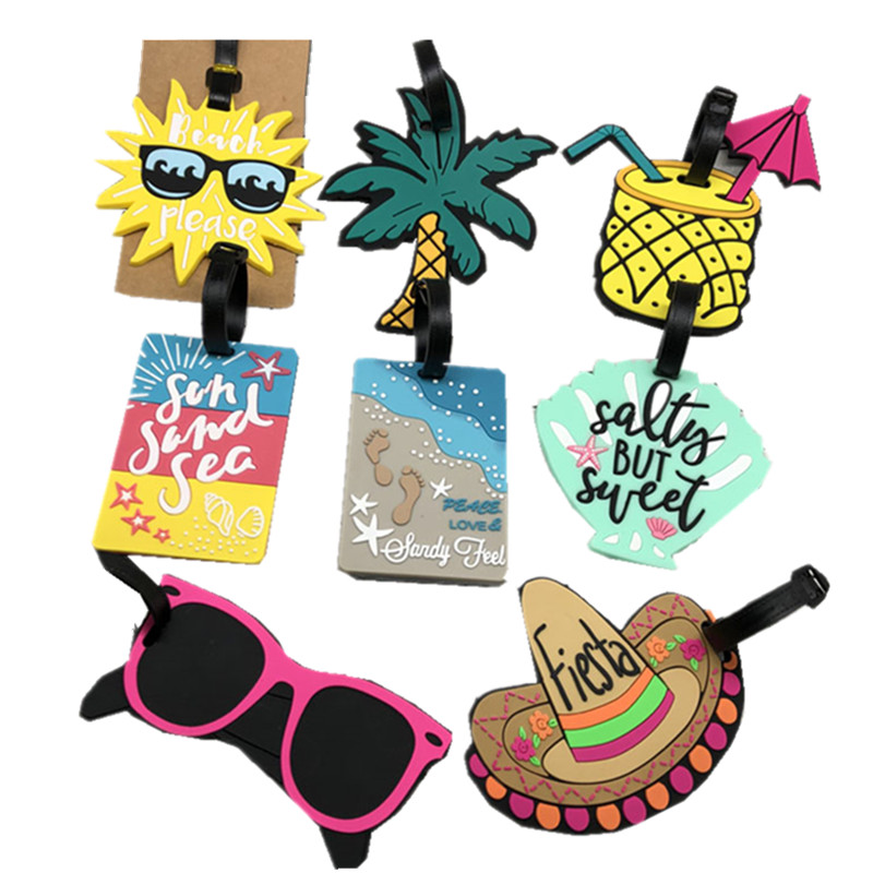 ETya  Women Men Fruit Cartoon  Luggage Tag Silica Gel Suitcase ID Address Label Holder Baggage Boarding Tags Travel Accessories