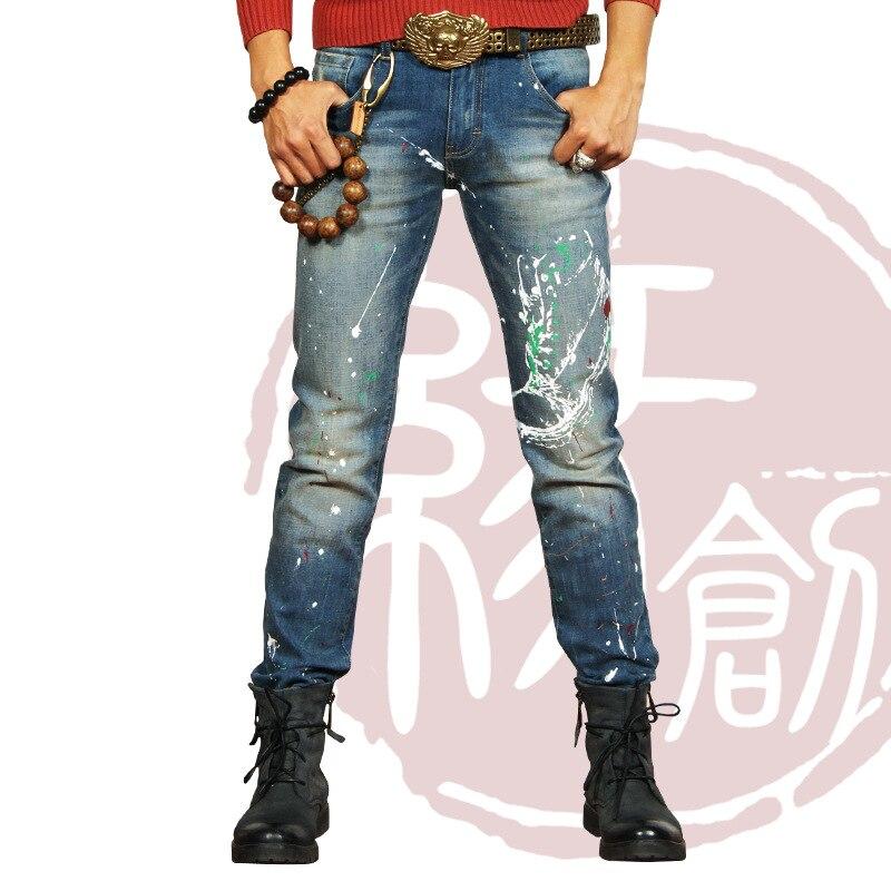 2016 Men slim jeans men's Distressed Biker jeans hiphop pants male pencil pants Washed colors jeans for men free shipping