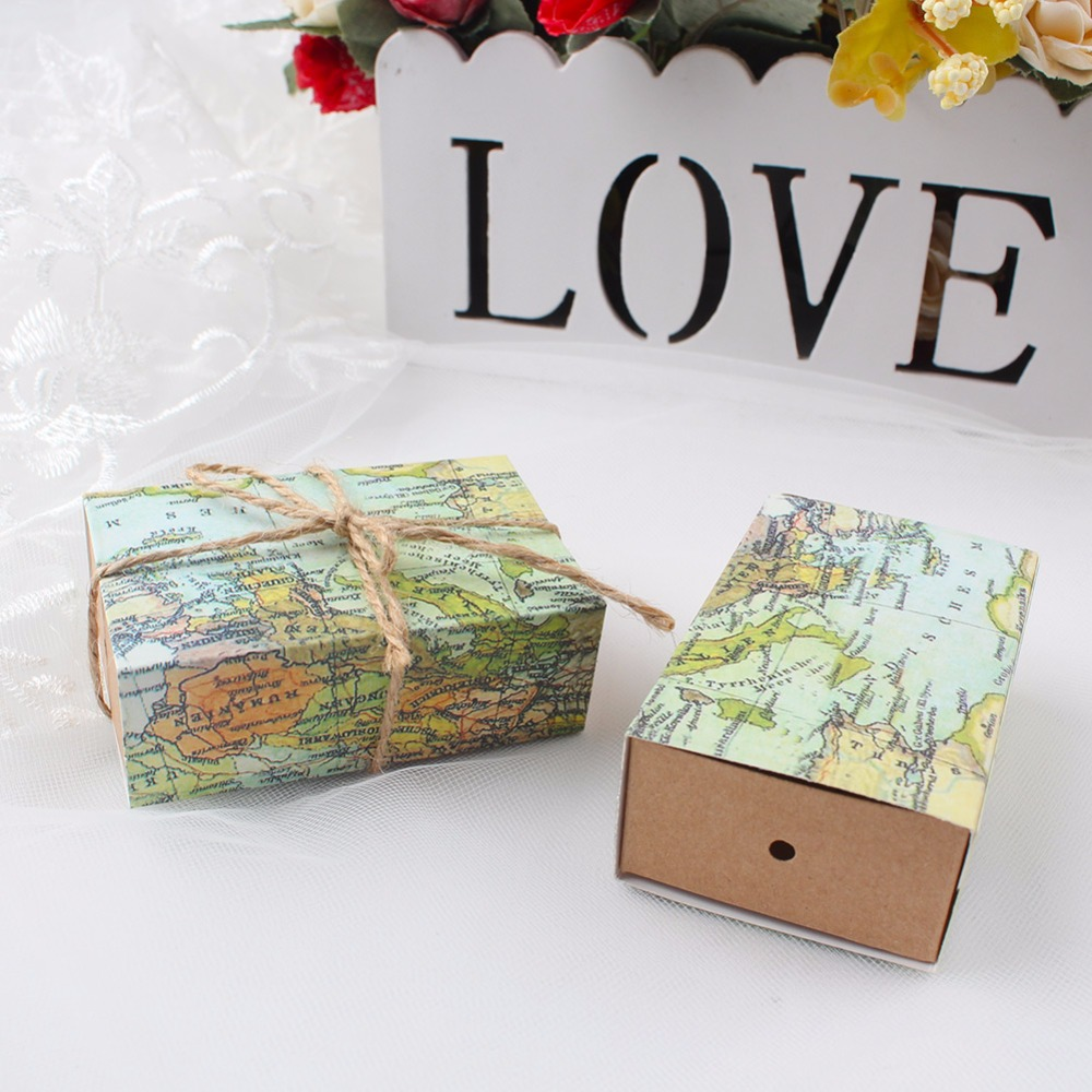 10pcs wedding party favors box candy gift box with world map theme candy box birthday party
