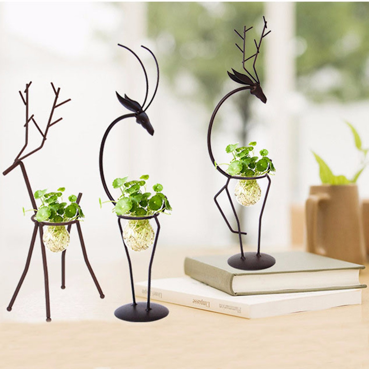 Iron Planter Deer Water Planting Stand Vase Simple Style Garden Office  Dinner Room Decoration European Style