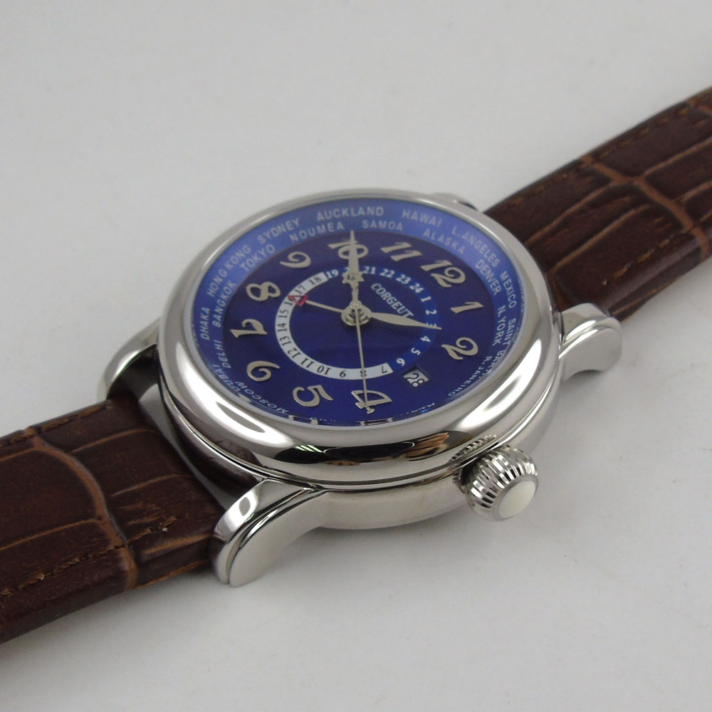 43mm corgeut big pilot blue dial brown leather strap GMT leather strap  Automatic mens wirst Watch 37-in Mechanical Watches from Watches on