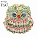Bling Bling Women's Owl Pink Crystal Evening Wedding Party Cocktail Clutch Handbags Purse Hardcase Diamond Metal Clutches Bags