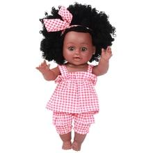 30cm Black African Newborn Reborn Doll Baby Simulation  Vinyl Children Cheap Toys Sleeping Accompany Calm Gifts