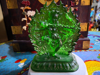 Tibetan Buddhism green Tara Glaze Glass Buddha statue