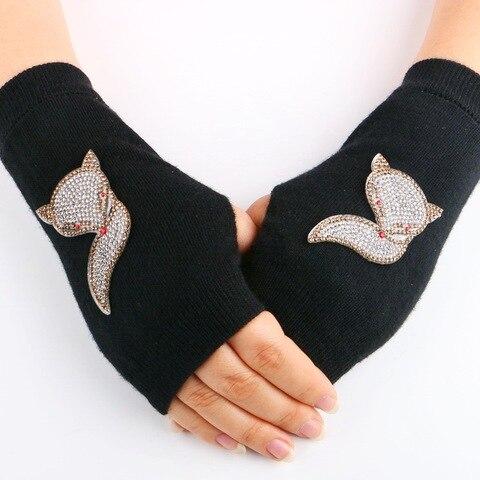 8e70ff8bd102d 2016 New Lady Rhinestone Fingerless Gloves Women Sparkling Knitted Mittens  Girl Black Wool Half Finger Computer ...