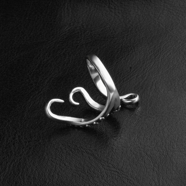 Black Titanium Octopus Ring For Men And Women