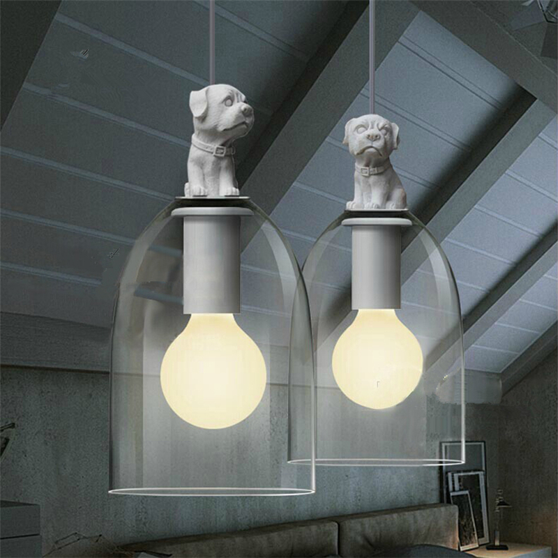Us 62 05 30 Off Resin Dog Puppy Gl Lampshade Pendant Lamps Modern Home Lighting American Style Loft Design For Living Room Restaurant Pll 262 In