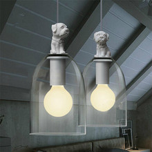 Resin Dog Puppy Glass Lampshade Pendant Lamps Modern Home Lighting American Style Loft Design for Living Room/Restaurant PLL-262(China)
