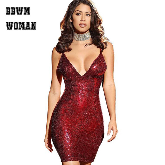 European and American Sexy Blue Red Rose Gold Sequin Dress Strapless Deep V  Neck S- 083112aea189