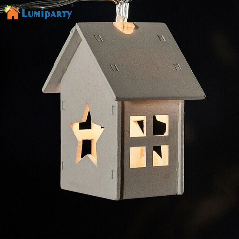 LumiParty 10LED Wood House Christmas Decorative Lights Battery Operation  Wooden Star Lights Outdoor Christmas Lights For