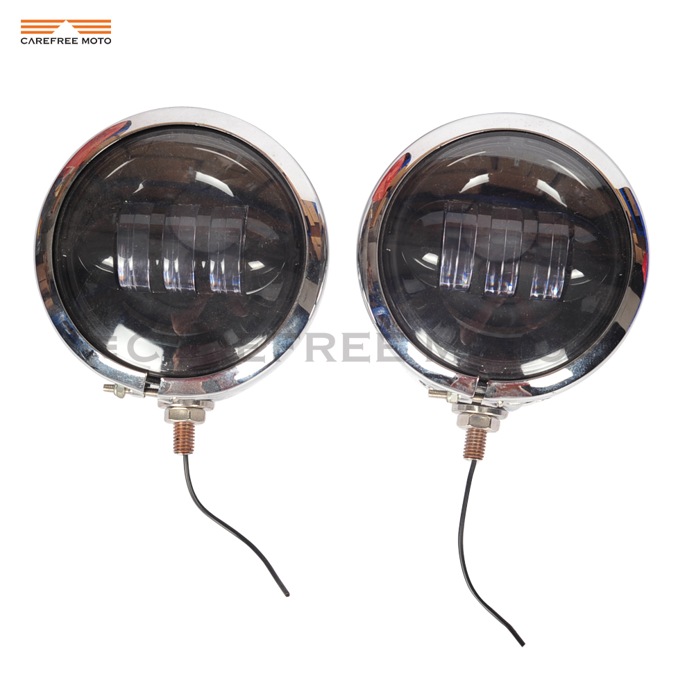 4.5 30W Motorcycle LED Auxiliary Daymaker Fog Passing Light & Housing Bucket case for Harley