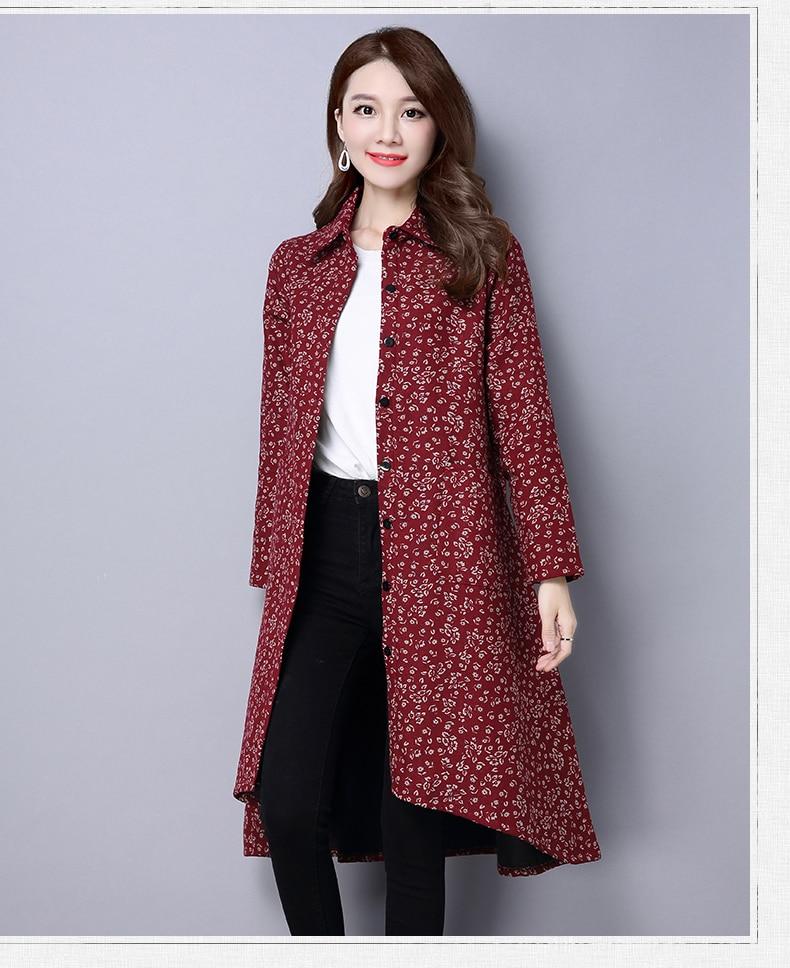 BUYKUD Vintage Shirt-Coats 2018 Autumn Winter New Long Sleeve Printed Coat Office Lady Irregular hem Women Button Linen Coats 7