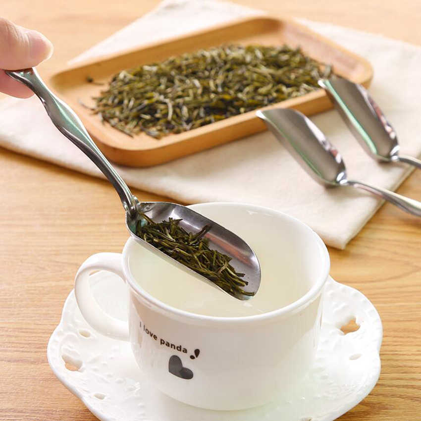 1 pieza de acero inoxidable Gossy china Mini hojas de té pala de cucharas de café en polvo de plata cuchara de té espátula accesorios de té