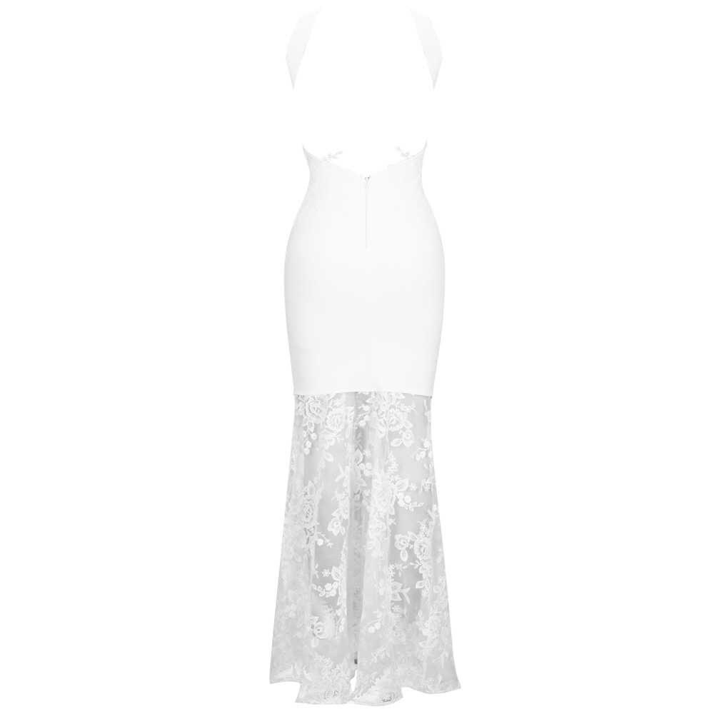 Ocstrade haute couture 2020 nouvelles femmes blanc robe de pansement Sexy dos nu Maxi robe de pansement longue moulante dentelle soirée robe de soirée