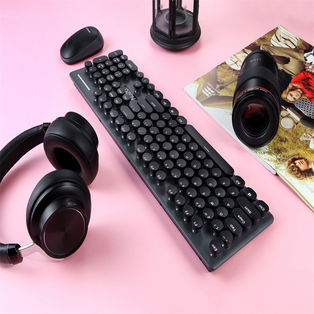 N520 Punk Robot Wireless Keyboard And Mouse Set Round Key Cap For Computer Teclado Sem Fio For Smart TV Laptop Computer PC Gamer-in Keyboard Mouse Combos from Computer & Office