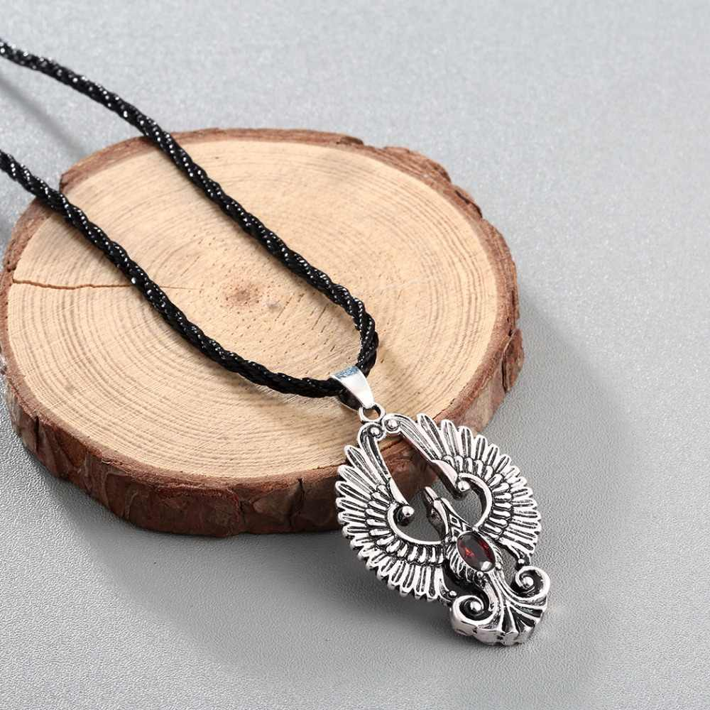 CHENGXUN CZ Angel Wing Necklace Phoenix Bird Pendant Red CZ Eagle Necklace Silver Gold Tone for Men Gift Charm