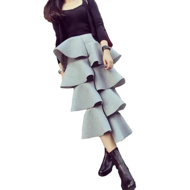 2016 Новый Корейский Бренд Торт Юбка Пространство Хлопка Женщин Оборками Макси Dress Нерегулярные Случайные Сплошной Цвет Длинная Юбка