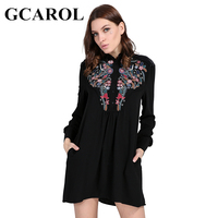 GCAROL 2018 New Arrival Totem Embroidered Floral Women Dress Velvet Spliced Pleated Shirt Dress Spring Autumn